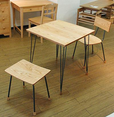 """""""いろんな木の積層材のテーブルセット""""<木の工房KAKU>"""
